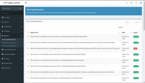 PHP Auto Update Script Reports