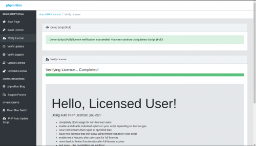 Auto PHP Licenser Demo Script Verify License